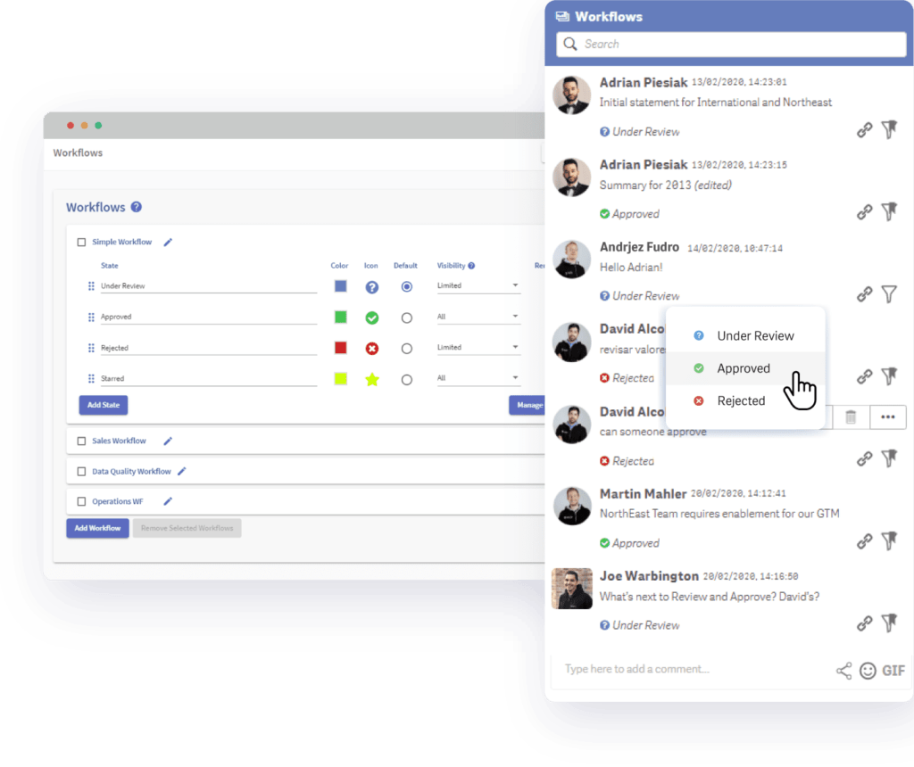 Vizlib Teamwork for Vizlib Collaboration showing integrated approval workflows