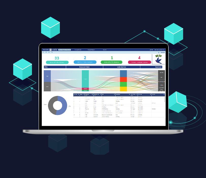 Laptop displaying Vizlib sankey chart dashboard
